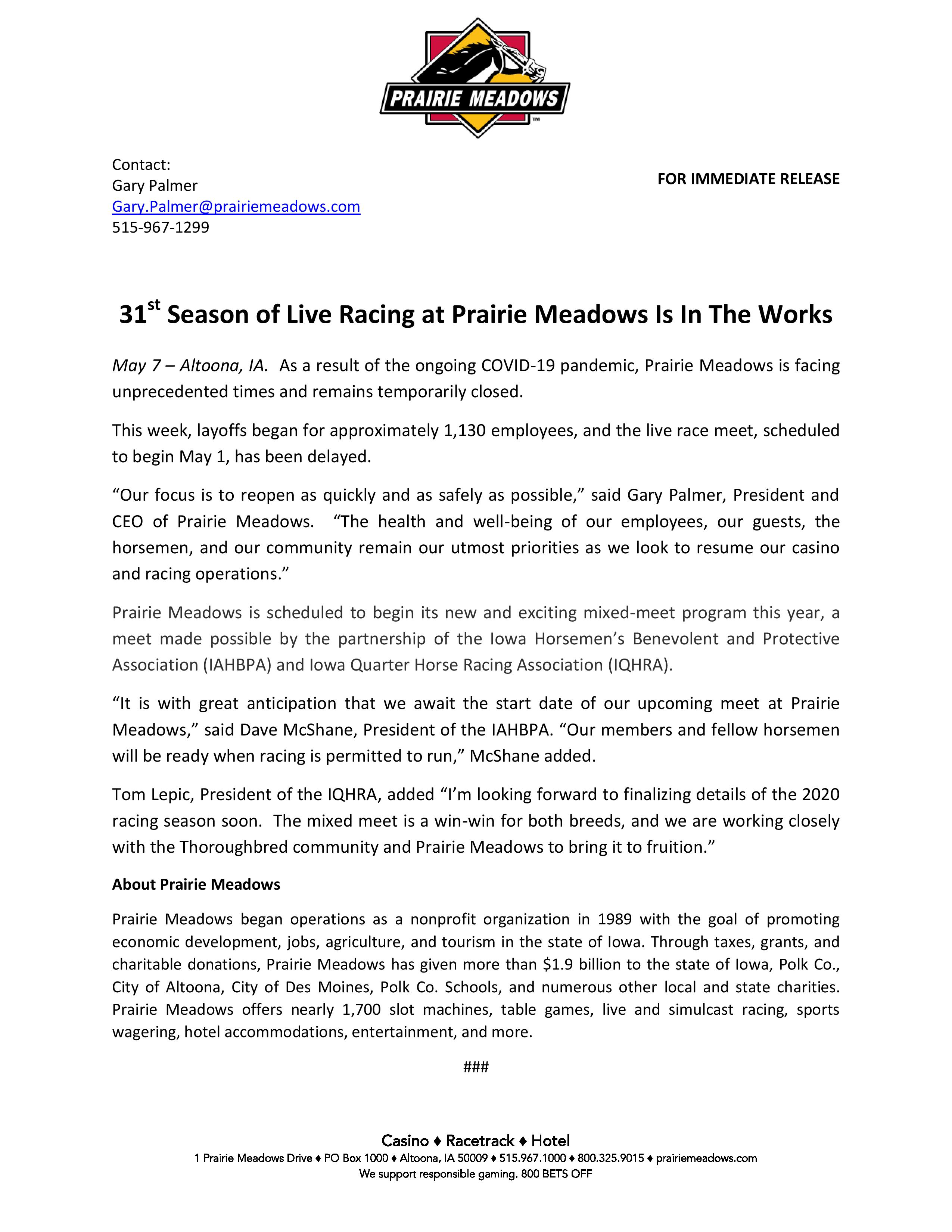 Media Alert – 31st Season of Live Racing at Prairie Meadows Is In The Works