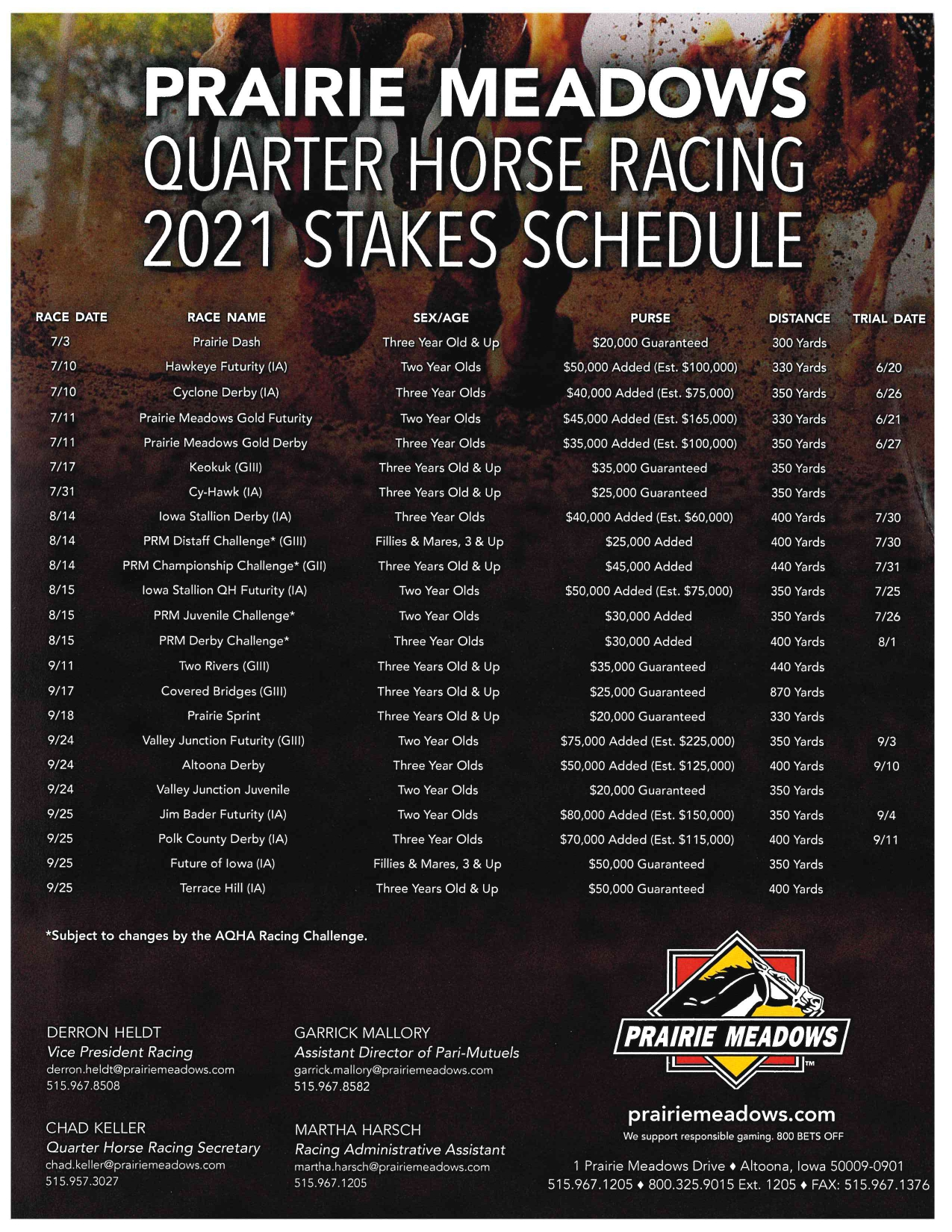 2021 Stakes Schedule & Nomination Forms Available!