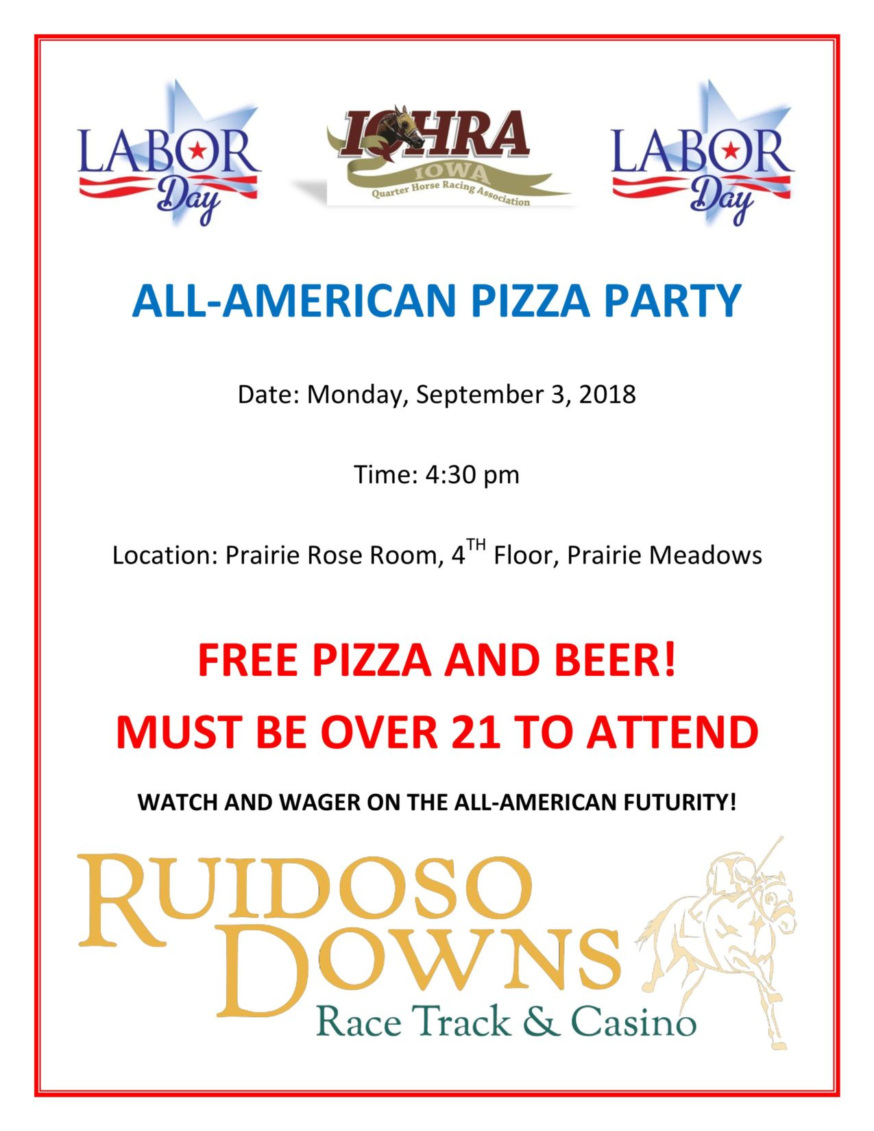 All-American Pizza Party – September 3